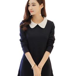 Wholesale Dress Pans - Women's Long Sleeve Dress 2017 Spring Autumn Fitted New Peter Pan Collar Dress A-line dress Cute Knee-length Women Dresses