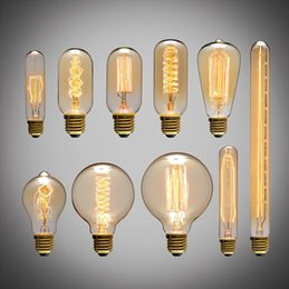 2019 bombilla incandescente de tungsteno American vintage Edison bombillas fuente de luz de alambre de tungsteno luces colgantes 110V 220V E27 titular de la lámpara de latón bombillas incandescentes bombilla incandescente de tungsteno baratos