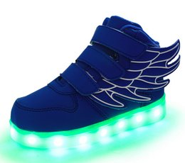 Wholesale 37 Led - 2017 Fashion LED luminous for kids children casual shoes glowing usb charging boys & girls sneaker with 7 colors light up EU25-37 HJIA338