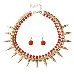 Wholesale Earrings Spikes Beads - Wholesale Factory Price Free Shipping Hot Sale Alloy Spike Choker Necklace Acrylic Beads Earrings Jewelry Set