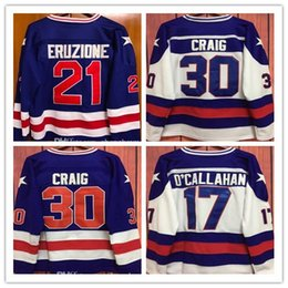 Wholesale Usa Vintage - men's 30 Jim Craig 21 Mike Eruzione 17 Jack O'Callahan 1980 USA Hockey Jersey Team USA Miracle On Alternate Year Throwback Vintage Jerseys