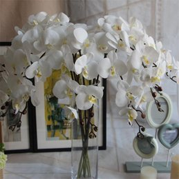 2019 orquídeas artificiais únicas flores HOT REAL TOUCH PU Único Caule Orquídea (9 cabeças / peça) 100 cm Comprimento Artificial Flores Phalaenopsis para Centrais de Casamento desconto orquídeas artificiais únicas flores