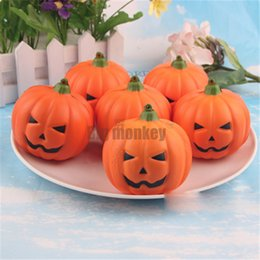 Wholesale Toy Pumpkins - NEW 20pcs lots slow rising PU Smiling face Halloween pumpkins Squishy Charm mobile phone strap