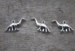 Wholesale Dinosaur Plates - 100pcs Antique Tibetan silver 3D Dinosaur Charms Pendants 13x27mm