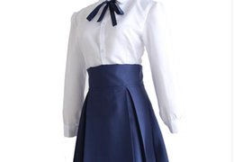 Destino ficar noite cosplay on-line-Anime japonês Fate Stay Night Cosplay Sabre Traje Arturia Pendragon Uniforme Top + Saia para Cosplay ou Uso Diário