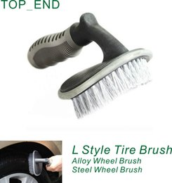 Wholesale Brush Scooter - Wholesale- Free Shipping,1pc,Universal TPR Handle Tire Cleaning Brush,Wheel Brush Washing,Blue+Black Brushing,High Quality,For Car,Scooter