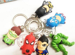 Wholesale Set Boys Superman - 2016 500PCS New arrive The Avengers Superman Batman Spider-Man cartoon anime boy Keychain sided soft toys for kids