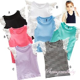 Wholesale Girl Vest Shirt Candy Summer - Free shipping Baby Girls 2016 Summer Style Lace T Shirt Cute Candy Color Vest Soft cotton 7 Colors Infant wear