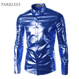 Wholesale Night Shirt Men - Wholesale- Blue Coated Metallic Shirt Men Brand Night Club Wear Men Dress Shirts Button Down Shirts Long Sleeve Shiny Elastic Chemise Homme