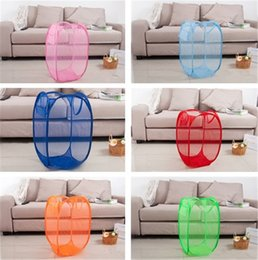 Wholesale Laundry Supplies - New Convenient Foldable Mesh Fabric Laundry Basket household Dirty clothes Storage Baskets Clothes Storage supplies IA633