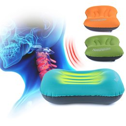 Wholesale Inflatable Travel Neck Cushion - Naturehike Outdoor Inflatable Pillow Sleeping Gear Travel Aeros Pillow Inflatable Cushion Soft Neck Protective HeadRest freeship