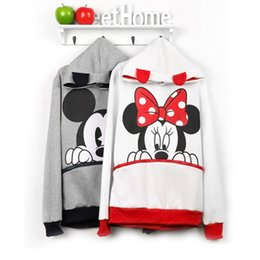 Wholesale Cartoon Characters Sweaters - Autumn And Winter Suit-dress Increase Fertilizer Enlarge Code Sweater Bring Hat Cartoon Hoodie Dress Cotton Liner