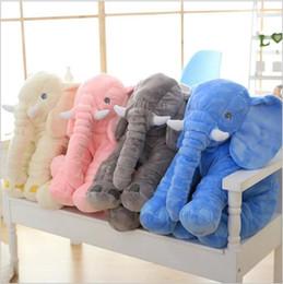Wholesale Orange Baby Doll - Elephant Pillow INS Lumbar Pillows Long Nose Elephant Dolls Baby Soft Plush Doll Toys Children Sleep Pillow Birthday Gifts 60*45*28cm B2942