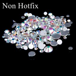 Wholesale Diamond Glitter Nail Art - SS12-SS50 Non Hotfix Crystal Rhinestones Glitter White Crystal AB Flatback Glue On Strass Diamonds Many Sizes For 3D Nails Art Decorations