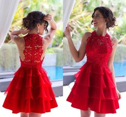 Wholesale Mini Lace Tiered Short Skirts - Sexy Red Homecoming Dresses 2016 Mini Short Jewel Hollow Back Lace Cocktail Party Dresses Tiered Skirt Short Prom Gowns BA2953