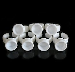 Wholesale Disposable Tattoo Supplies - Free Shipping 100pcs Medium Permanent Makeup Disposable Finger Easy Ring Ink Holders Cups Container tattoo Supplies