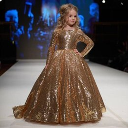 Wholesale Girls Gold Sparkly Dresses - Sparkly Gold Sequins Ball Gown Girls Pageant Dresses Boat Neck Long Sleeves Flower Girls Dresses For Weddings Toddler Birthday Party Dress