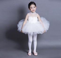 Wholesale Little Girl Dance - Baby Kids Clothing Girls Little Swan Dance Costume New Children Performance Clothes Kids White Tulle Dressy High Quality Dancewear Nice 9376