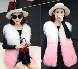 Wholesale women s real fur vests - Women's autumn winter luxury real natural mongolian sheep fur full pelt gradient color fur sleeveless coat vest warm medium long casacos
