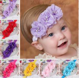 Wholesale Shimmer Headbands - Newborn Baby Headband Chiffon 3 Flower Pearl Diamond with A Shimmer Headbands Elasticity Baby hair accessories