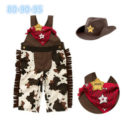 Wholesale Classic Baby Clothes Sets - 15Sets Summer Toddler Baby Boys Classic Cowboy Modelling Suspender Trousers +Caps+Scarf 3pcs Sets Children Jumpsuits Kids Clothing Suits