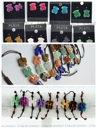 Wholesale Wholesale Chain Hooks - Handmade 925 Silver Crystal Bear Woven Bracelet Earring Mixed Fashion Braid Rope Bracelet And Hook Earring For Party Jewelry