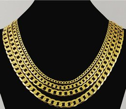 Wholesale Mens Gold Filled Snake Chains - 8mm Mens Boys Chain Flat Cut Curb Cuban Necklace Gold Filled Necklace Personalize 24k Jewelry Gift GN13