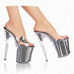 Wholesale Sexy Beautiful Ladies - 20cm Women's Ultra High Heels Shoes Queen Crystal Platform Shoes Fashion Sexy Sandals 8 Inch Beautiful Woman Lady High Heel Shoe