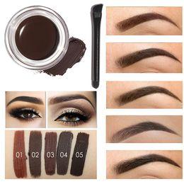 2019 crème caramel Focallure Trousse de maquillage pour les yeux de sourcils pour les yeux, imperméable, gel pour les sourcils à pigment élevé 5 couleurs avec brosse à sourcils + TB
