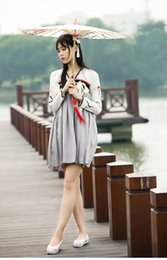 Wholesale Hanfu Clothes - Wholesale-Retro Tang Dynasty Chinese Clothing for Women Modern Improve Hanfu Short Dress Ethical Oriental Apparel Long Sleeve Dress
