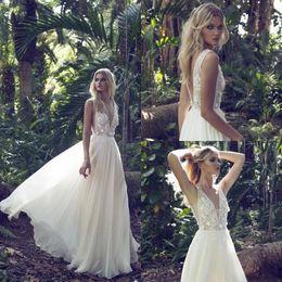 Wholesale Wedding Dresses Straps Low Back - Limor Rosen 2018 New Arrival Wedding Dresses 3D-Floral Appliques Sleeveless V Neck A Line Bridal Gowns Lace Vintage Low Back Beach Dresses