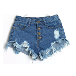 Wholesale Hole Ladies Jeans - Wholesale- Denim Shorts Jeans Women New 2017 Summer Fashion Ladies Tassel Hole High Waist Sexy Mini Shorts for Woman White Black Blue Pink