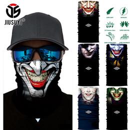 Wholesale Multifunction Headwear - Wholesale- 3D Seamless Multifunction Magic Clown Joker Fans Men Skull Ghost Shield Tube Face Mask Headband Bandana Headwear Ring Head Scarf