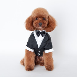 Wholesale Get Clothing - dog apparel Pet Clothes Large Cute Pet Dog Cat Clothes Prince Wedding Suit Tuxedo Bow Tie Puppy Coat 5 Sizes Dogs Get Married Dress Suit