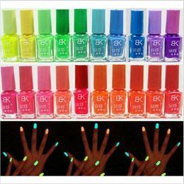 Wholesale art enamels - 2016 New Hotsell Beauty 20 Candy Colors Glow The Dark Luminous Fluorescent Nail Art Polish Enamel Free Shipping
