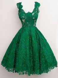 Wholesale Hot Pink Pageant Cocktail Dresses - Hot Sale Green Lace Mini Short Prom Dresses 2016 Scoop Neckline Vestidos Cortos De Gala A Line Women's Pageant Party Gown