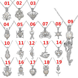 Wholesale Xmas Gifts Wholesale - 36 Style Love Wish Pearl Cages Pendant Necklace Hollow Out Freshwater Necklaces Silver Plated DIY Fashion Jewelry Xmas Gift A012
