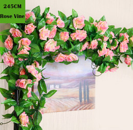 Wholesale Wedding Flowers Roses Blue - 245cm 10 Colors Wedding decoration Artificial Fake Silk Rose Flower Vine Hanging Garland Wedding Home Decor Decorative Flowers & Wreaths