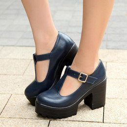 Wholesale Navy Blue Pumps For Women - Women Chunky Heel Fashion Buckle Strap Pumps Popular High Quality Women Dress Shoes for Spring and Fall Size 34-46