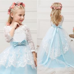 Wholesale Teen Girls Short Formal Dresses - 2016 Princess Flower Girls Dresses Lovely Girls Pageant Dress for Teens Lace Tulle Kids Formal Gowns Illusion Sleeves Open Back Bow Sash