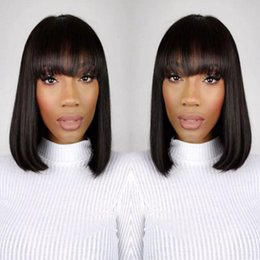Wholesale Long Bob Wigs Bangs - Glueless Lace Front Human Hair Wigs Bob full bangs With Baby Hair Brazilian Human Hair full lace Wigs Bleached Knots For Black women