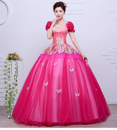 Wholesale Victorian Costumes Women - luxury hot pink butterfly flower bubble sleeve ball gown sissi princess medieval dress Renaissance Gown princess Victorian belle ball gown
