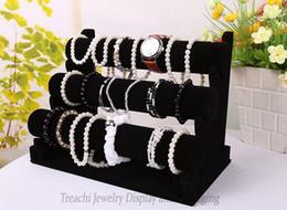 Wholesale Tier Bracelet Display Bar - Hot sale Three-tier T bar Shelf Bracelet Bangle Watch Stand Holder Jewelry Display Black Velvet Rack Showing Props