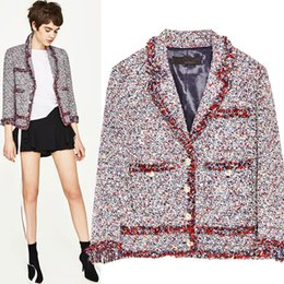 Wholesale Ladies Long Sleeve Tops Xs - Women Winter ladies Woven tweed color lace tassel jacket Luxury famous fashion brand top quality jacket