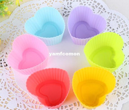 Wholesale Silicone Soap Molds Heart - Heart 7cm Cupcake Molds Silicone Cake Cup Molds Baking Soap Muffin Pudding Mold Baking Moulds Bakeware