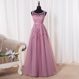 Wholesale Embroidery Only - Only $69 Robe De Soiree Pink Lace Short Evening Dresses Embroidery with Beaded Perspective Backless Fashion Party Bride Prom Formal Dress