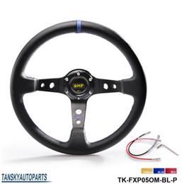 Wholesale Sport Steer - Tansky - NEW High quality 350MM PVC Drifting Sport Racing Steering Wheel + Horn Button Aluminum Frame TK-FXP05OM-P