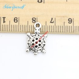 Wholesale Antique Turtle Pendant - 20pcs lot Antique Silver Plated Turtle Animals Charms Pendants for Necklace Jewelry Making DIY Handmade Craft 19x12mm