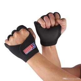Wholesale Gym Fitness Gloves Wholesale - SX670 1 Pair Sports Fitness Gloves Hand Half Finger Brace Support Wrap Gym Gloves Men Women Black