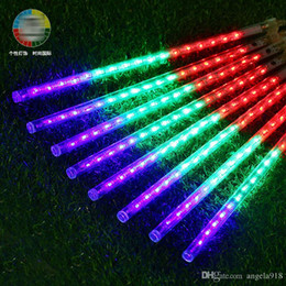 Wholesale Led Colorful Rods Foam - Christmas LED Colorful rods led stick flashing foam stick Decoration Meteor shower decorative lights DHL shipping E1676